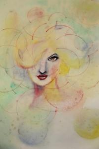 Watercolour abstract portrait of a woman's face