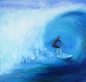 Oil painting of a surfer inside a wave