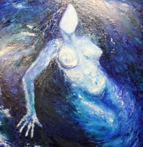 Woman floats in water
