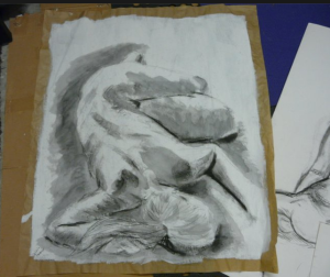 Life drawing observation ink and charcoal artwork