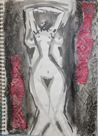 Ink and mixed media inspired work from Man Ray's Photography
