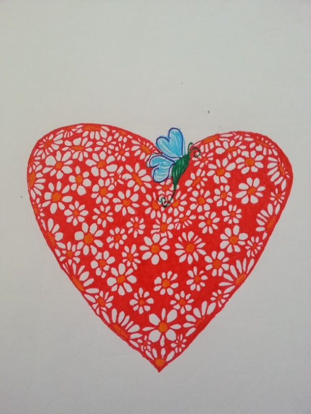 New Beginnings butterfly on heart filled with flowers