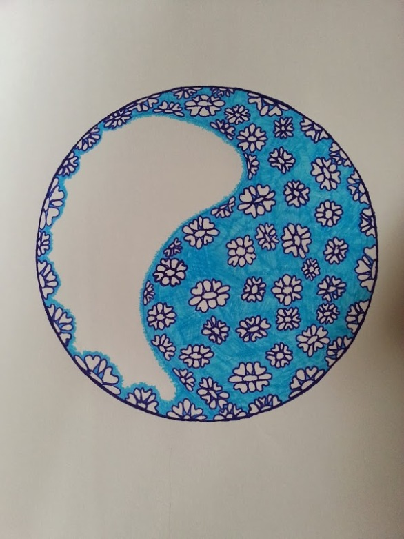 Ocean of Flowers in a yin yang style drawing