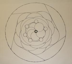 Simple Mandala ink drawing on acid free paper