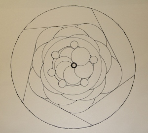 Simple Mandala ink drawing on acid free paper