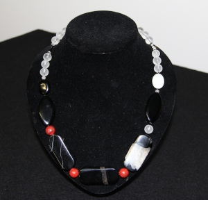 Onyx and Quartz Crystals with Red Ceramic beads Created: 30/3/2014 Artist: Selina Shapland