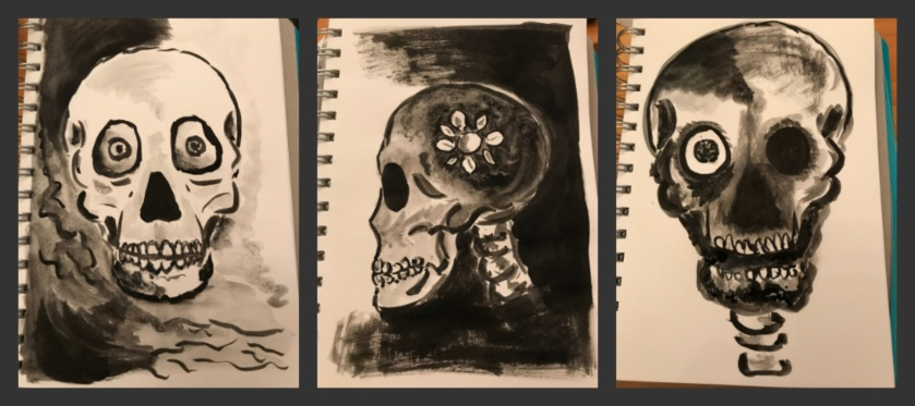Three skulls created with indian ink in my visual diary. Artist: Selina Shapland