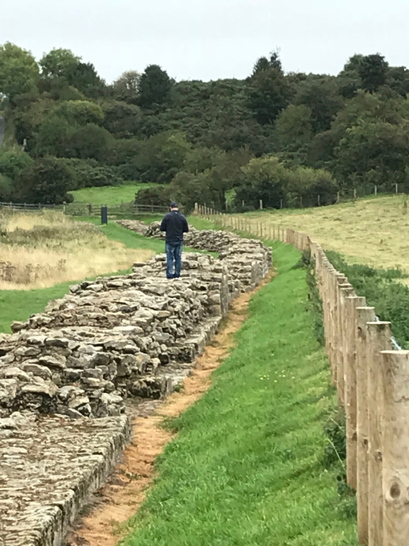 David, my partner, exploring Hadrian's Wall