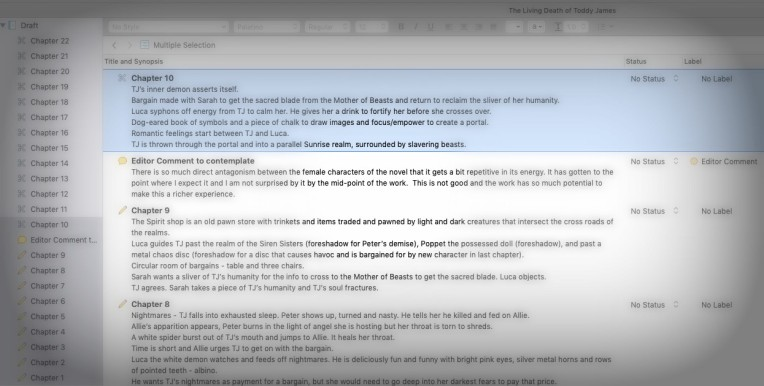 TLDTJ Outlining process on Scrivener 3
