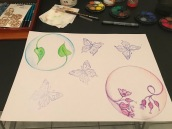 Adding four butterflies to the image - using a stamp