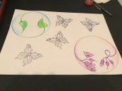 Traced butterflies with black ink pen