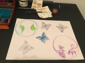 Here I started colouring each butterfly - I started with blue
