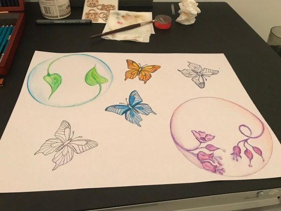 I painted the second butterfly orange and warm yellow