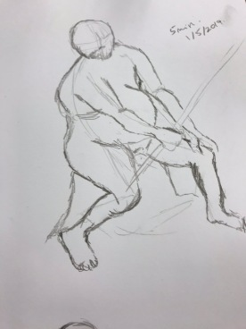 Graphite on acid free paper. Life Drawing, 5 minute sketch, 15/5/2019. Artist: Selina Shapland