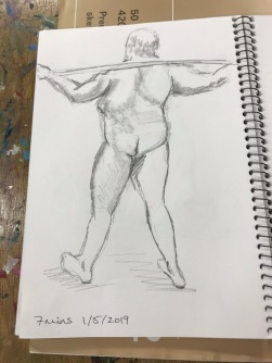 Graphite on acid free paper. Life Drawing, 7 minute drawing, 15/5/2019. Artist: Selina Shapland