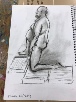 Charcoal pencils on acid free paper. Life Drawing, 10 minute drawing, 15/5/2019. Artist: Selina Shapland