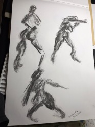 Charcoal on acid free paper. Life Drawing, 30 second sketches, 15/5/2019. Artist: Selina Shapland