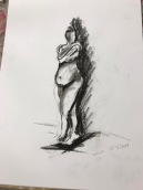 Charcoal on acid free paper. Life Drawing, 10 minute drawing, 15/5/2019. Artist: Selina Shapland