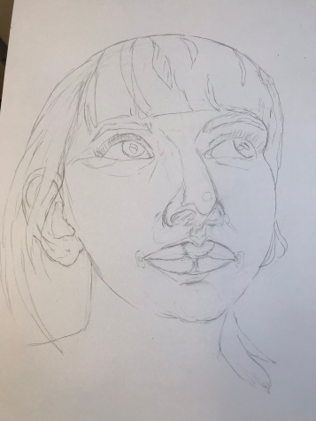 Portrait 6/100 base drawing of a woman